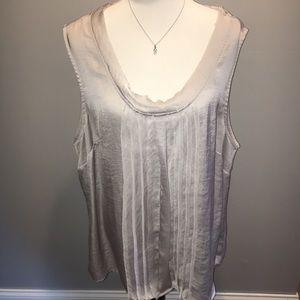 Silver silk sleeveless size 3x blouse ruffle front